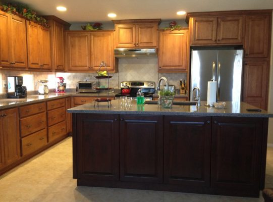 Kitchen Cabinets with Stainless Steel Refrigerator by Stradlings Cabinets