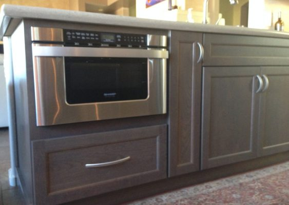 Kitchen Cabinets with Stainless Steel Microwave by Stradlings Cabinets