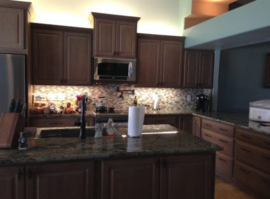 Dark Wood Kitchen Cabinets by Stradlings Cabinets