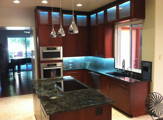 Kitchen Cabinets with Lighting by Stradlings Cabinets