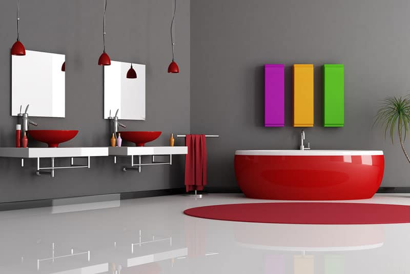 bathroom remodeling mistakes, red tub and sinks, Stradling's Cabinets & Remodeling, Scottsdale, AZ