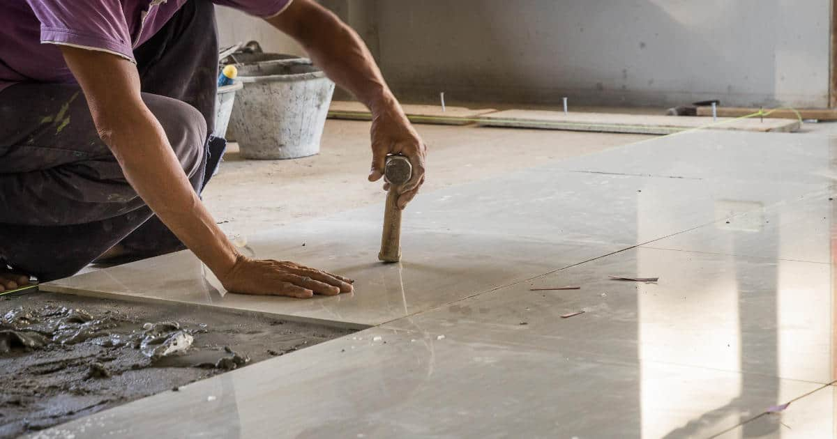 Tile layer installing stone